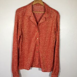 Vintage 1970's Lurex Button Up Blouse Top Retro